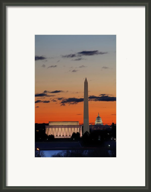 Digital Liquid -  Monuments At Sunrise Framed Print By Metro Dc Photography