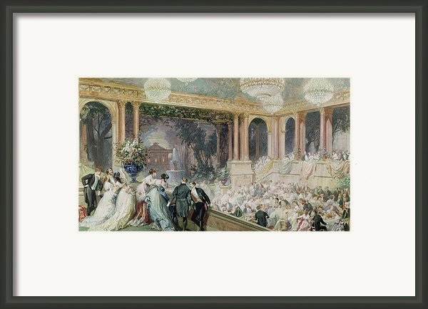 Dinner At The Tuileries Framed Print By Henri Baron