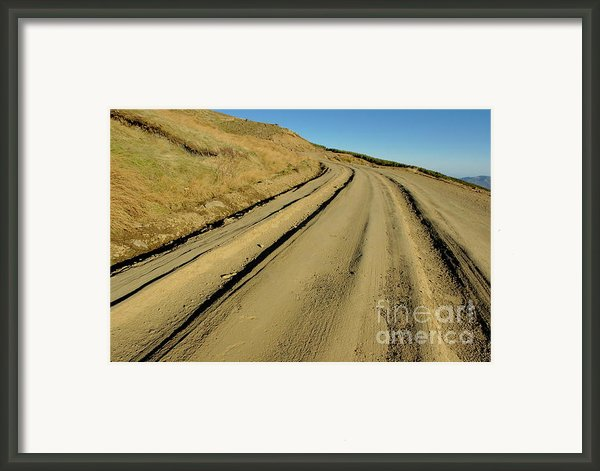 Dirt Road Winding Framed Print By Sami Sarkis