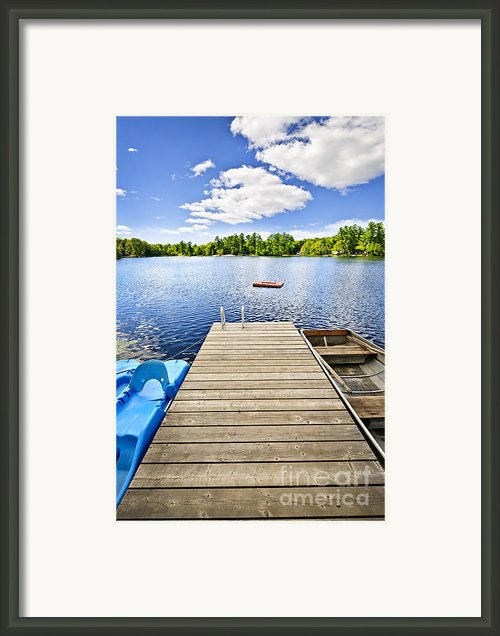 Dock On Lake In Summer Cottage Country Framed Print By Elena Elisseeva