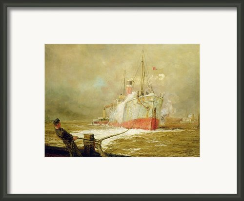 Docking A Cargo Ship Framed Print By William Lionel Wyllie