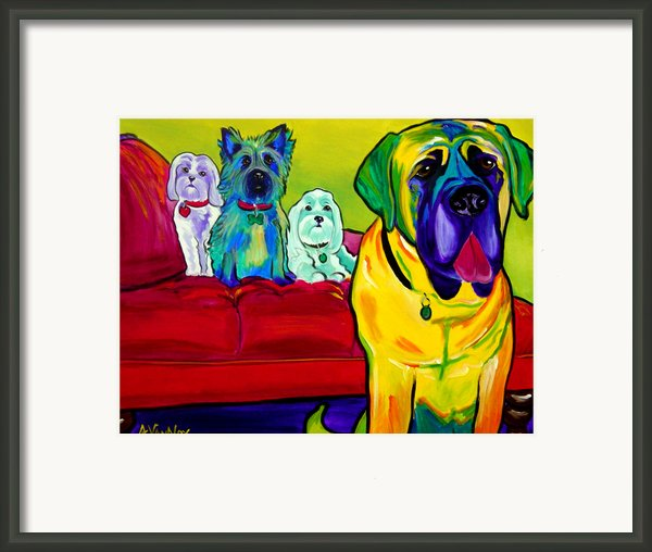 Dogs - Droolers Get The Floor Framed Print By Alicia Vannoy Call