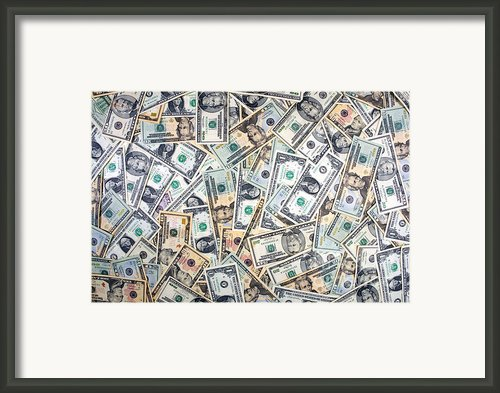 Dollar Background Framed Print By Olivier Le Queinec