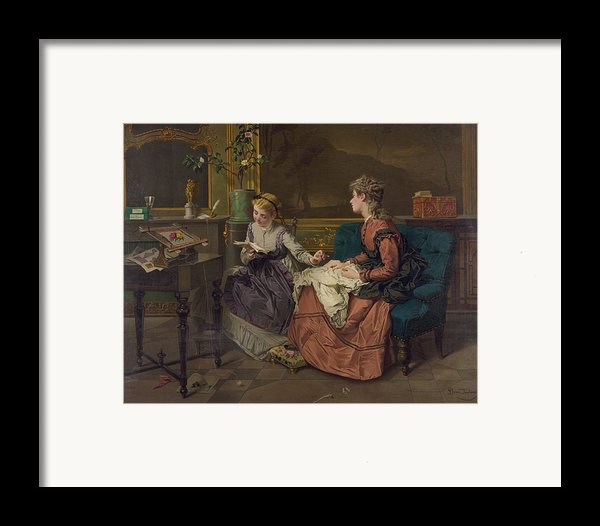 Domestic Scene With Two Girls, One Framed Print By Everett