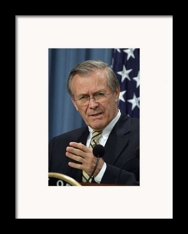 Donald H. Rumsfeld Secretary Of Defense Framed Print By Everett
