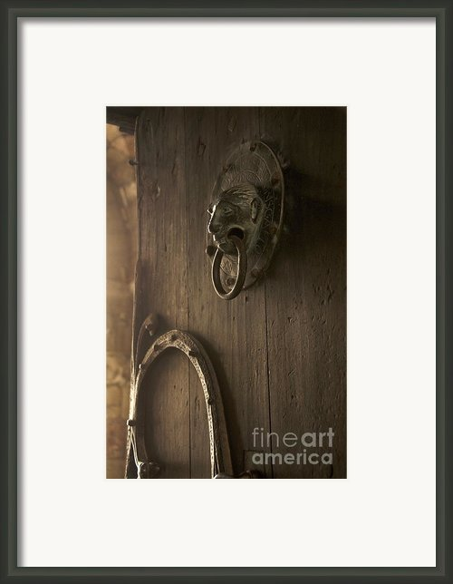 Door Knocker Of The Basilica Saint-julien. Brioude. Haute Loire. Auvergne. France. Framed Print By Bernard Jaubert