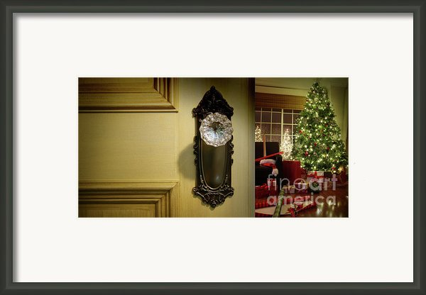 Door Looking Into Christmas Tree Framed Print By Sandra Cunningham