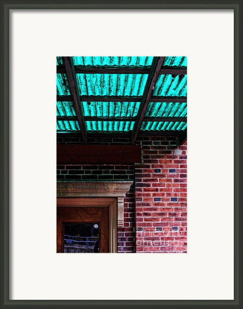 Door With Green Overhang Framed Print By Hd Connelly