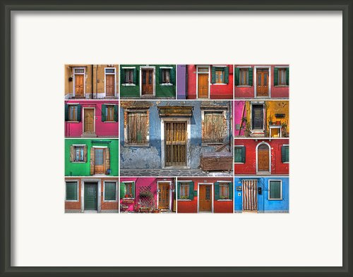 Doors And Windows Of Burano - Venice Framed Print By Joana Kruse
