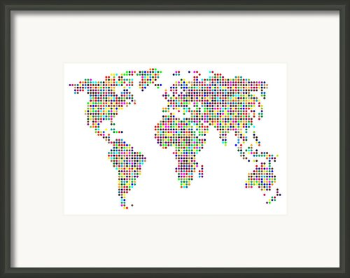 Dot Map Of The World - Colour On White Framed Print By Michael Tompsett