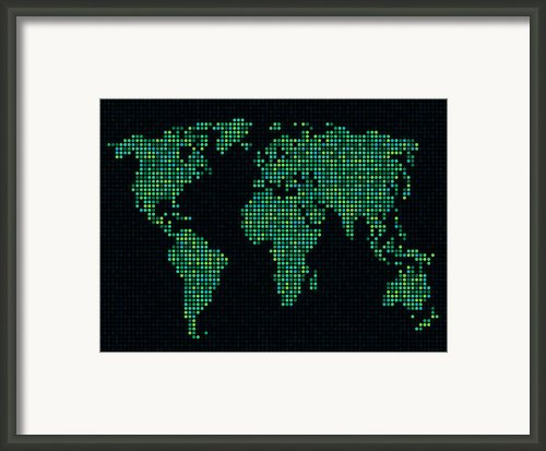 Dot Map Of The World - Green Framed Print By Michael Tompsett