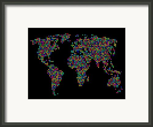 Dot Map Of The World - Multi Colours Framed Print By Michael Tompsett