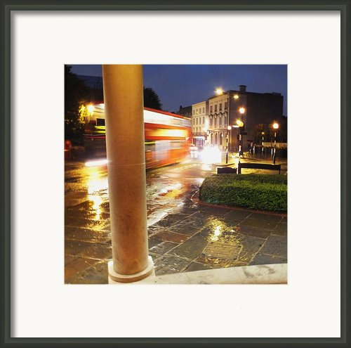 Double Decker Blur In The Rain Framed Print By Anna Villarreal Garbis
