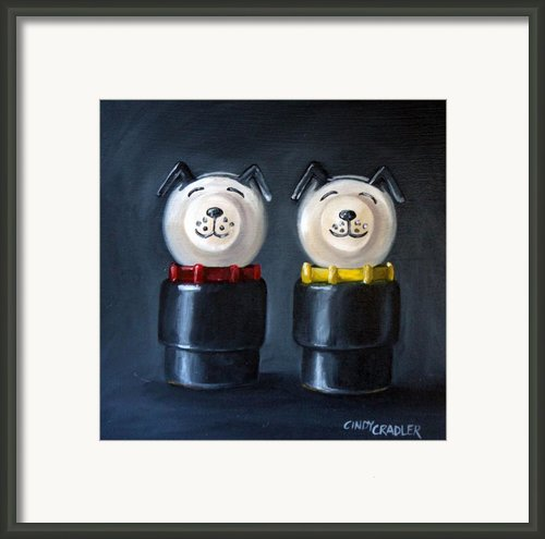 Double Dog Dare Framed Print By Cindy Cradler