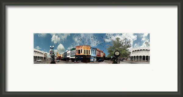 Downtown Bryan Texas 360 Panorama Framed Print By Nikki Marie Smith