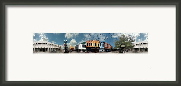 Downtown Bryan Texas Panorama 5 To 1 Framed Print By Nikki Marie Smith