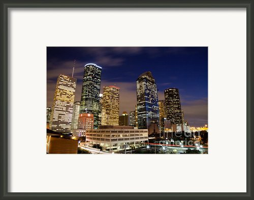 Downtown Houston At Night Framed Print By Olivier Steiner