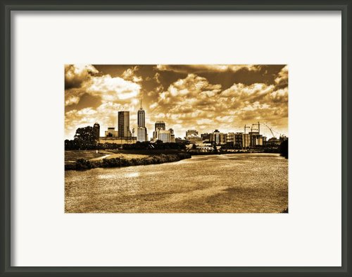 Downtown Indianapolis Skyline Dark Toned Framed Print By David Haskett