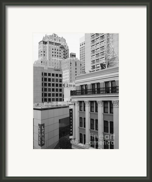 Downtown San Francisco Buildings - 5d19323 - Black And White Framed Print By Wingsdomain Art And Photography