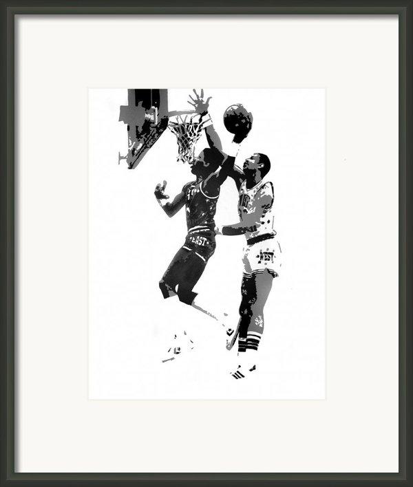Dr. J And Kareem Framed Print By Ferrel Cordle