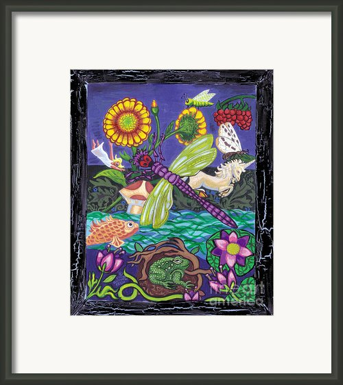 Dragonfly And Unicorn Framed Print By Genevieve Esson