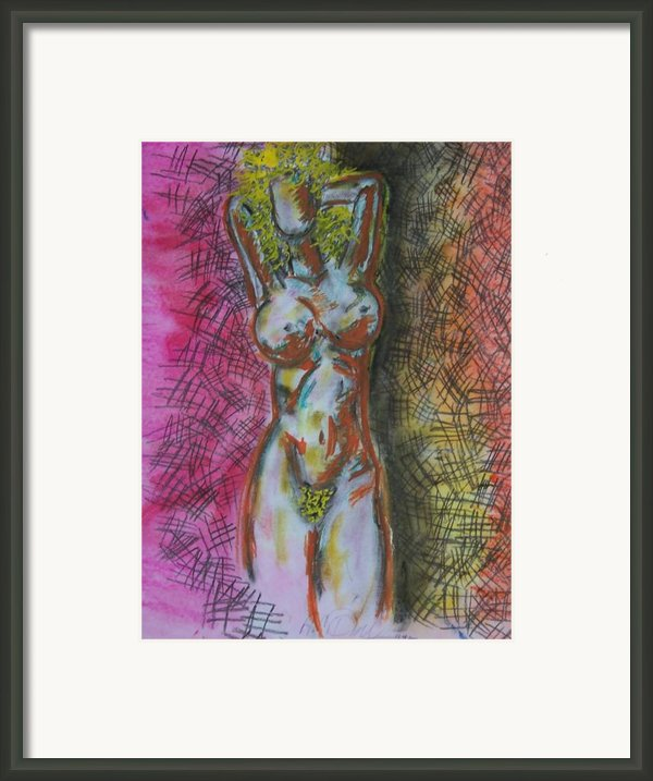 Drawing Of A Woman Framed Print By B And C Art Shop