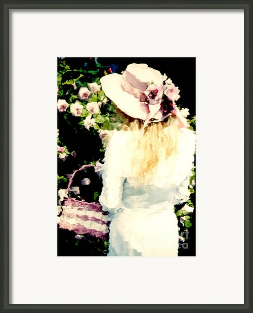 Dreamy Cottage Chic Girl Holding Basket Roses Framed Print By Kathy Fornal