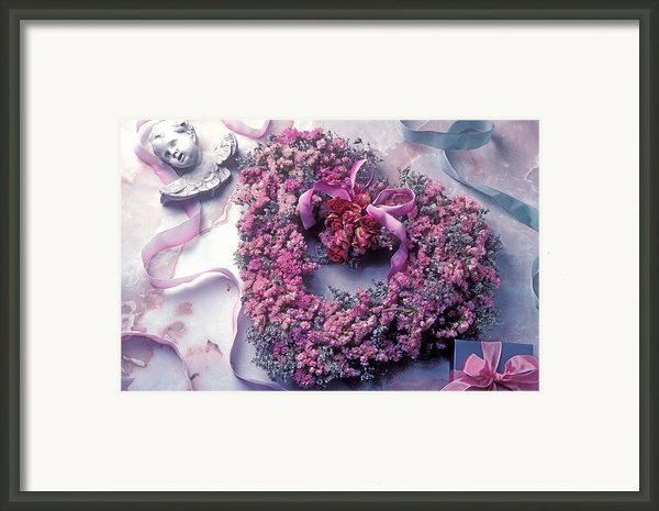 Dried Flower Heart Wreath Framed Print By Garry Gay
