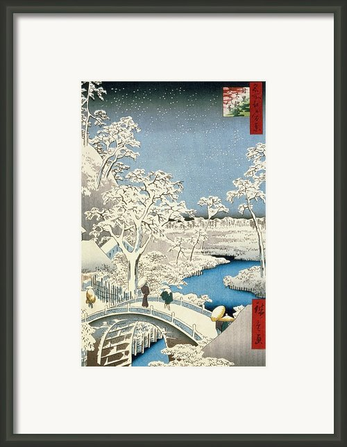 Drum Bridge And Setting Sun Hill At Meguro Framed Print By Hiroshige
