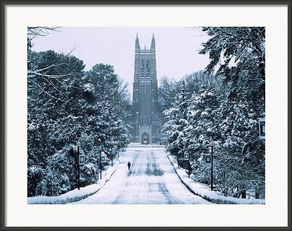 Duke Snowy Chapel Drive Framed Print By Duke University