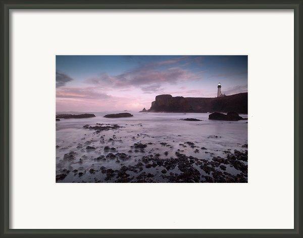 Dusk At Yaquina Head Lighthouse Framed Print By Keith Kapple