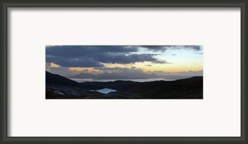 Dusk Panorama Of Skye Framed Print By Gary Eason