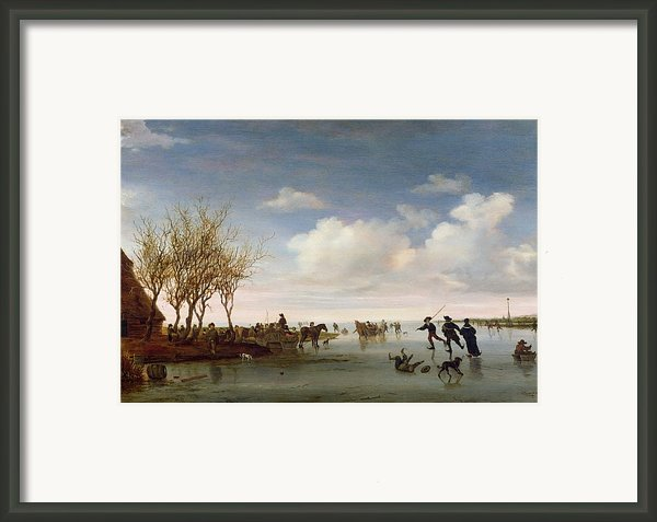 Dutch Landscape With Skaters Framed Print By Salomon Van Ruysdael