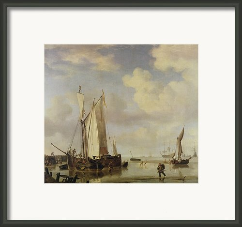 Dutch Vessels Inshore And Men Bathing Framed Print By Willem Van De Velde
