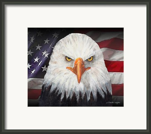 Eagle And The Flag Framed Print By Arline Wagner