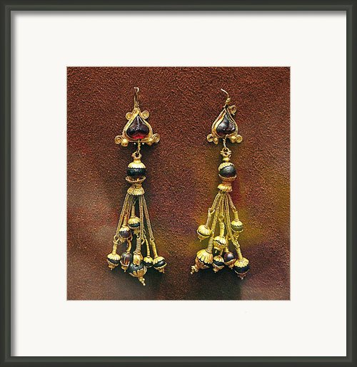 Earrings With Garnets Framed Print By Andonis Katanos