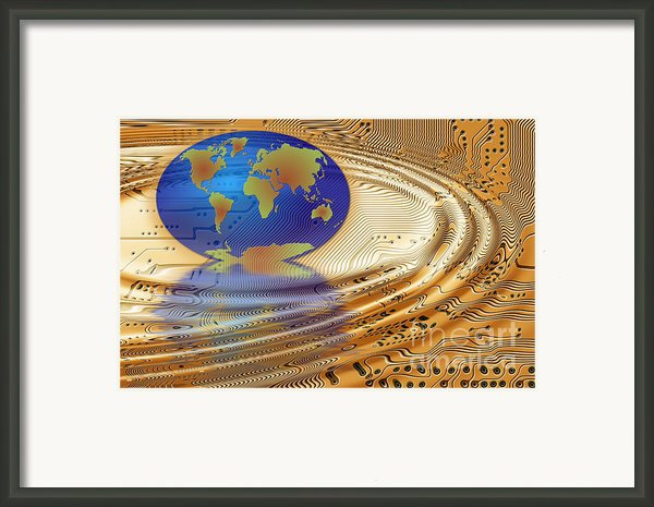 Earth In The Printed Circuit Framed Print By Michal Boubin