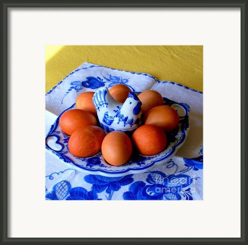 Easter Dyed Eggs In Russian Gzhel Platter Framed Print By Tanya  Searcy