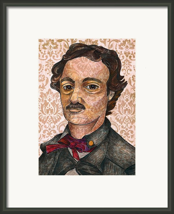 Edgar Allan Poe After The Thompson Daguerreotype Framed Print By Nancy Mitchell