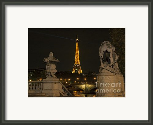 Eiffel Tower And The Seine River From Pont Alexandre At Night Framed Print By Louise Heusinkveld
