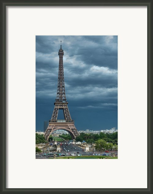 Eiffel Tower On A Stromy Weather Framed Print By Mihaela Muntean