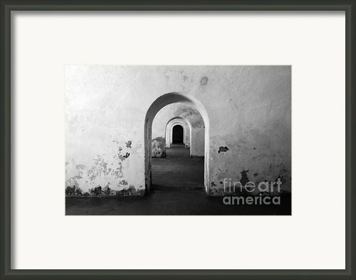 El Morro Fort Barracks Arched Doorways San Juan Puerto Rico Prints Black And White Framed Print By Shawn Obrien