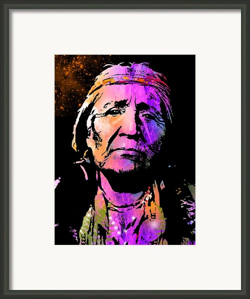 Elderly Hupa Woman Framed Print By Paul Sachtleben