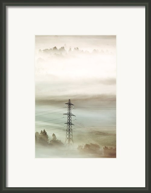 Electricity Pylon In Fog Framed Print By Duncan Shaw