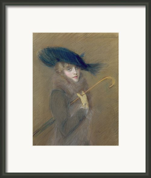 Elegant Lady Framed Print By Paul Cesar Helleu