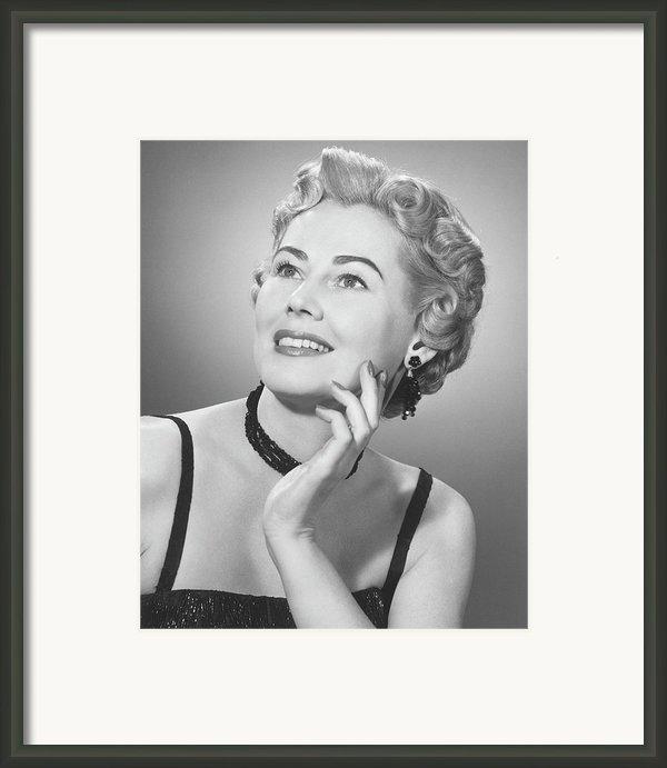 Elegant Woman Posing In Studio, (b&w), Portrait Framed Print By George Marks
