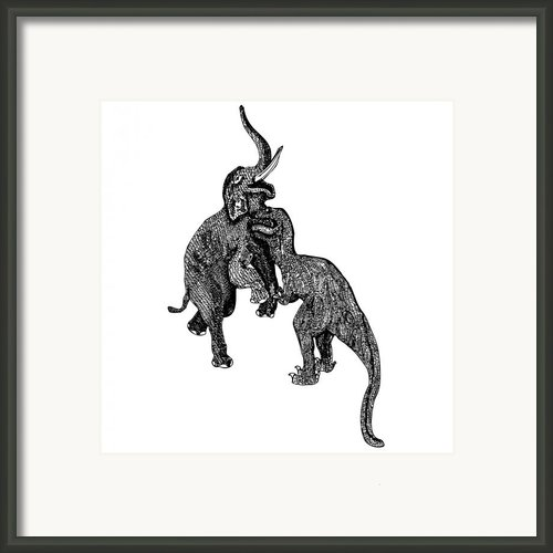 Elephant Vs T-rex Framed Print By Karl Addison
