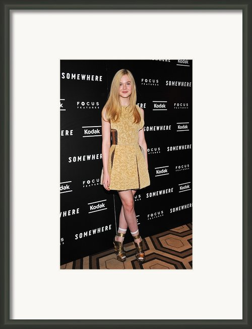 Elle Fanning Wearing A Rodarte Dress Framed Print By Everett