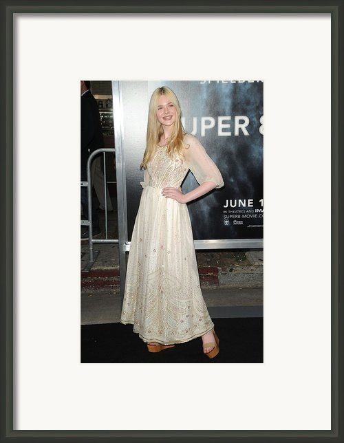 Elle Fanning Wearing A Vintage Dress Framed Print By Everett