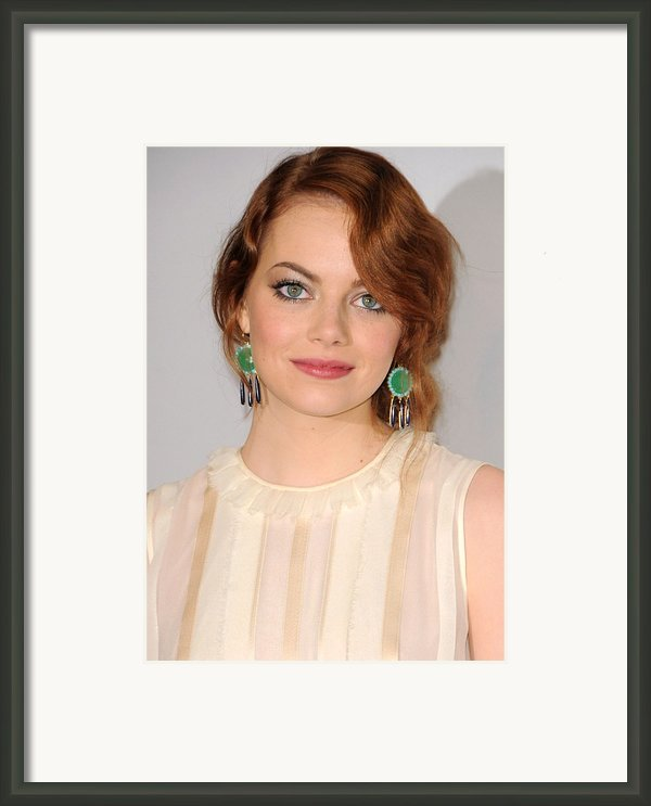 Emma Stone Wearing Irene Neuwirth Framed Print By Everett